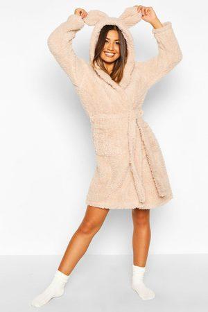 Boohoo Womens Super Soft Hooded Fleece Bathrobe/Robe - - S