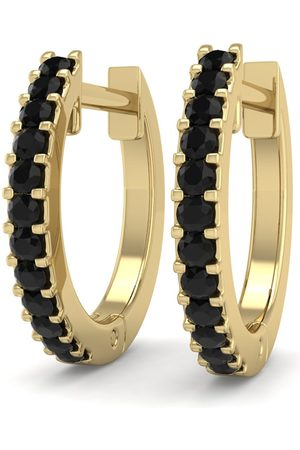 SuperJeweler 1/8 Carat Black Diamond Men's Hoop Earrings in 14K (1.90 g) by