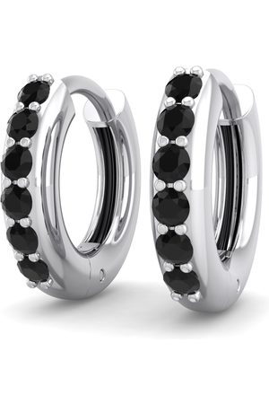 SuperJeweler 1/4 Carat Black Diamond Men's Hoop Earrings in 14K (2.70 g) by