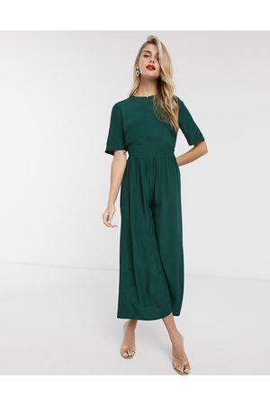 ASOS Tea jumpsuit with button back detail in forest
