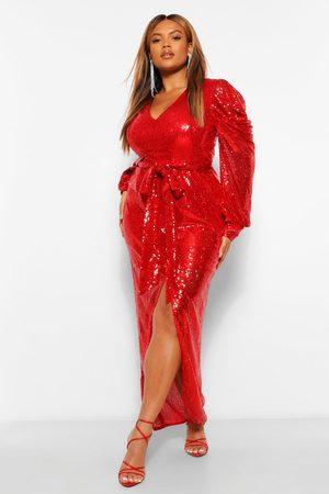 Boohoo Womens Plus Sequin Puff Sleeve Tie Waist Wrap Maxi Dress - - 12