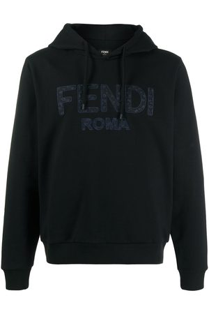 Fendi Floral-embroidered logo-detail hoodie