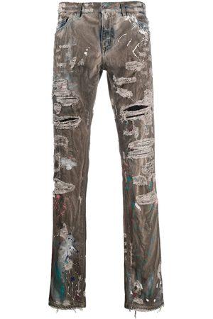 Dolce & Gabbana Distressed straight-leg jeans - Grey