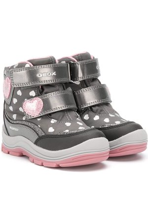 Geox Girls Snow Boots - Heart-pattern touch strap sneakers - Grey