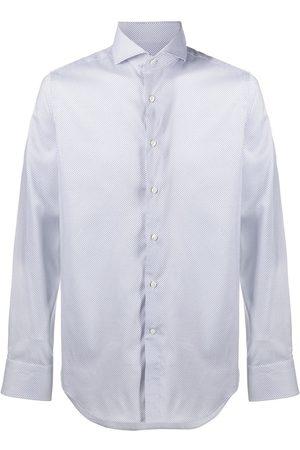 CANALI Micro floral-print shirt