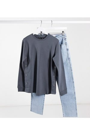 ASOS ASOS DESIGN Maternity nursing sweatshirt with button side in charcoal