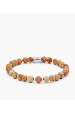 Mens Fossil Men's Sandstone Beaded Bracelet