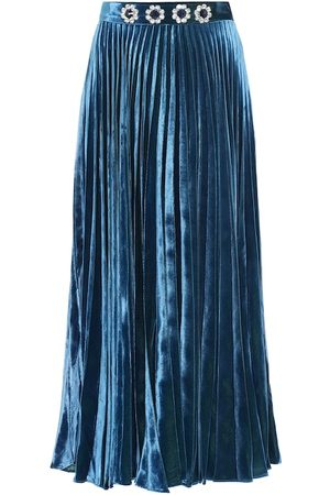 Christopher Kane Embellished pleated satin midi skirt