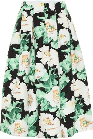 Oscar de la Renta Floral pleated faille midi skirt