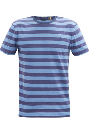 Polo Ralph Lauren Striped Logo-embroidered Cotton-jersey T-shirt - Mens - Navy Multi