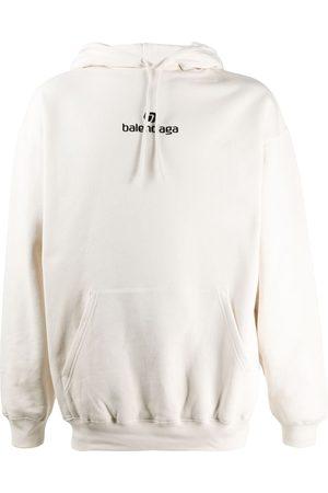Balenciaga Embroidered logo hoodie - Neutrals