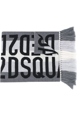 Dsquared2 Jacquard logo wool scarf - Grey