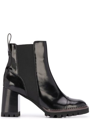 See by Chloé Leather chunky heel ankle boots