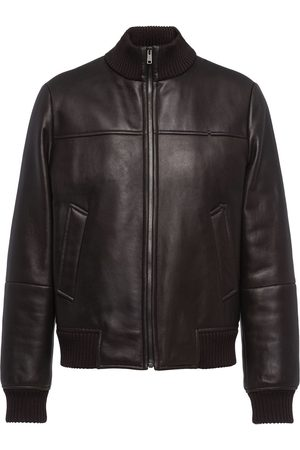 Prada Funnel neck leather jacket