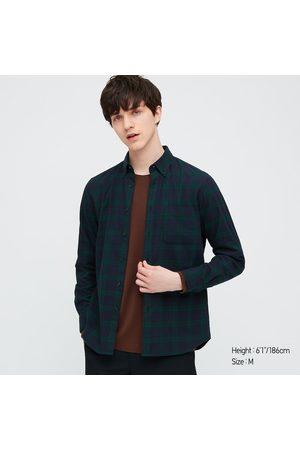 UNIQLO Men's Plaid Flannel Checked Long-Sleeve Shirt, Green, XXS