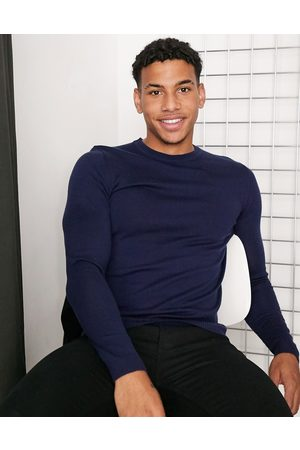 ASOS Cardigans - Muscle fit merino wool crew neck sweater in navy