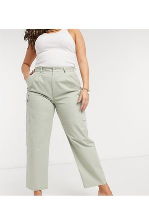 ASOS ASOS DESIGN Curve pleat-front chino with cargo pockets in sage