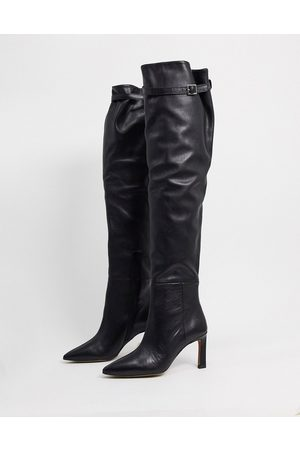 ASOS Kenzie premium leather mid-heeled over the knee boots in