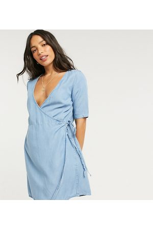 ASOS ASOS DESIGN Tall soft denim wrap smock dress in