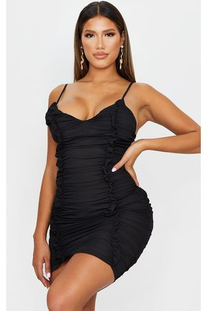 PRETTYLITTLETHING Shape Chiffon Plunge Ruched Bodycon Dress