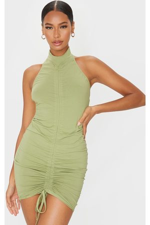 PRETTYLITTLETHING Sage Ruched Front Halterneck Bodycon Dress