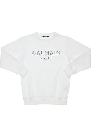 Balmain Girls Sweatshirts - Embroidered Logo Cotton Sweatshirt