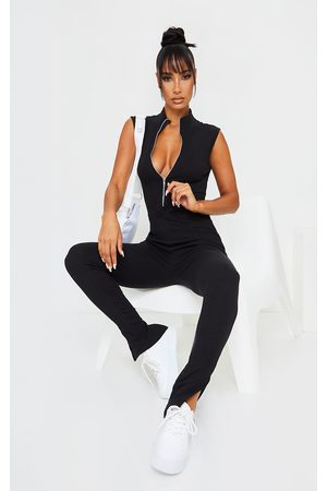 PRETTYLITTLETHING Thick Rib Zip Front Sleeveless Jumpsuit