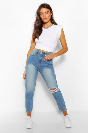 Boohoo Womens Knee Rip Straight Leg High Waisted Jean - - 8