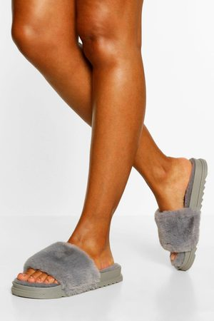 Boohoo Womens Fluffy Sliders - - 5