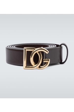 Dolce & Gabbana Men Belts - Leather belt with logo buckle