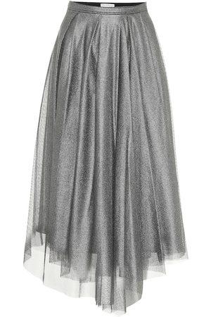 Brunello Cucinelli Cotton-blend lamé midi skirt