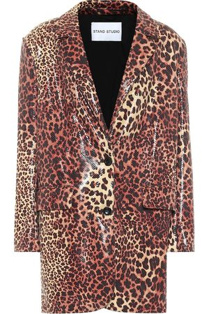 Stand Studio Juniper leopard-print faux leather blazer