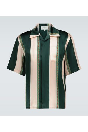 Casablanca Laurel striped silk bowling shirt