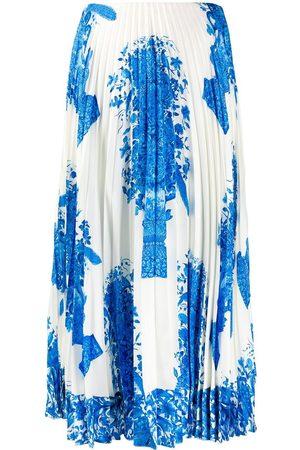VALENTINO Ceramic print pleated midi skirt