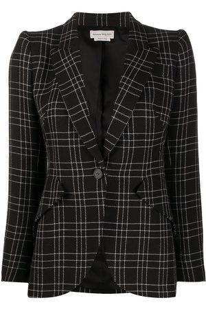 Alexander McQueen Check-print fitted blazer