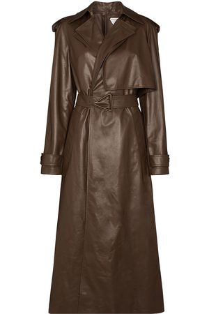 Bottega Veneta Belted-waist leather trench coat