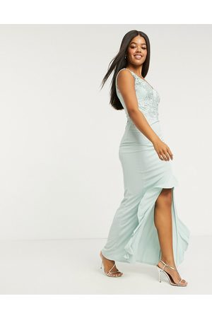 Lipsy London Lace top ruffle front maxi dress in