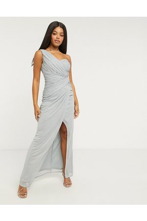Lipsy London X Abbey Clancy glitter one-shoulder maxi dress in