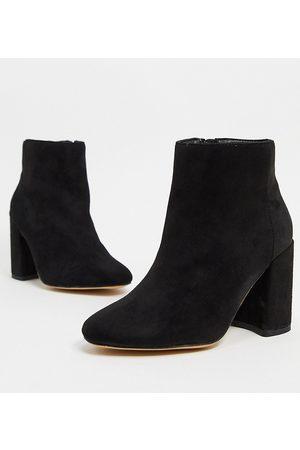 London Rebel Wide Fit block heeled boots in