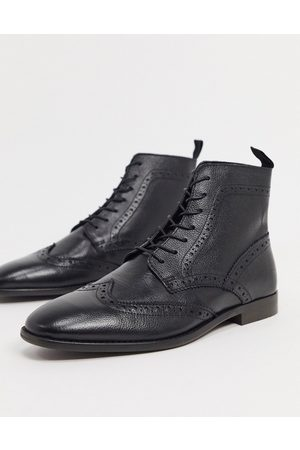 ASOS Brogue boots in leather with natural sole