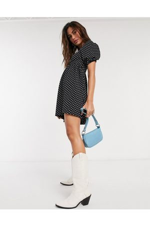 Topshop Baby doll mini dress in monochrome polkadot