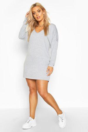 Boohoo Womens Plus Oversized V Neck Basic T-Shirt Dress - - 12