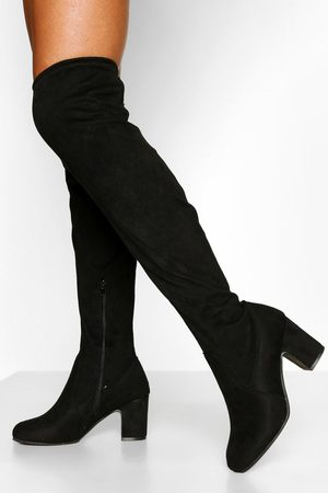 Boohoo Womens Wide Fit Block Heel Stretch Over The Knee Boot - - 5