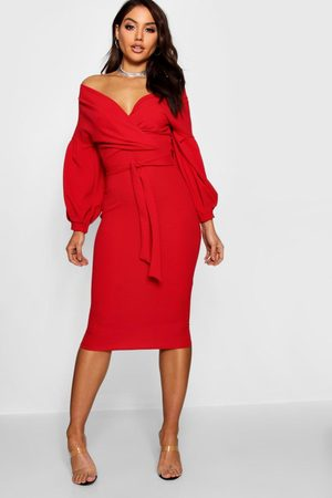 Boohoo Womens Off The Shoulder Wrap Midi Dress - - 4