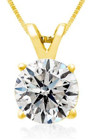 SuperJeweler Women Necklaces - 2 Carat Round Brilliant Moissanite Necklace in 14K