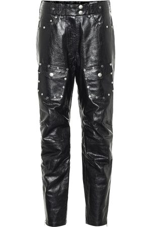 DRIES VAN NOTEN Studded slim leather pants