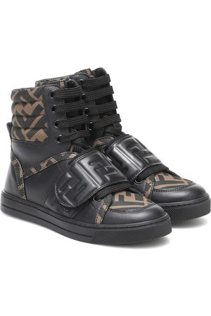 Fendi FF leather high top sneakers
