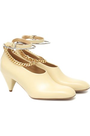 Jil Sander Chain-trimmed leather pumps
