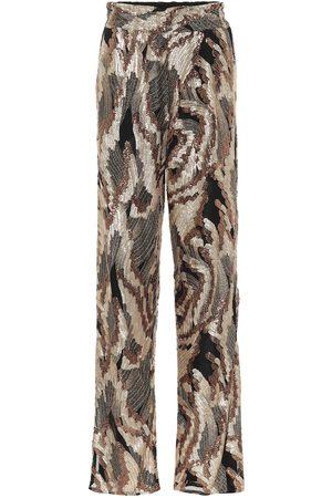 DRIES VAN NOTEN Sequined high-rise straight pants
