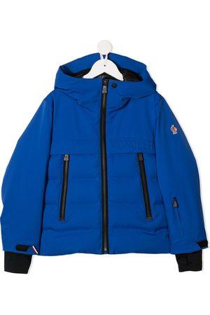 Moncler Boys Puffer Jackets - Embossed logo hooded jacket